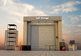 modern self storage with used stuff outside